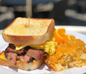 Brisket and Egg at Rusty Rudder. Mount Pleasant, SC