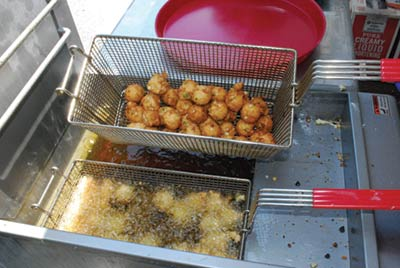Deep frying hush puppies
