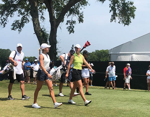 Women Golfers Walking