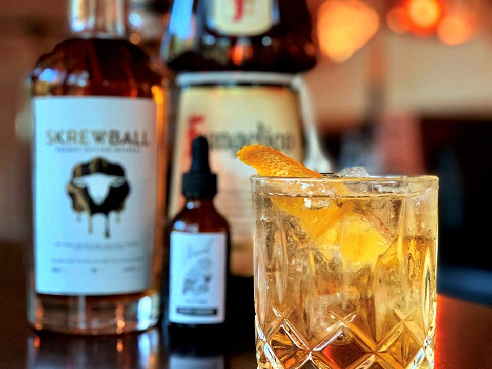 An Old-Fashioned cocktail
