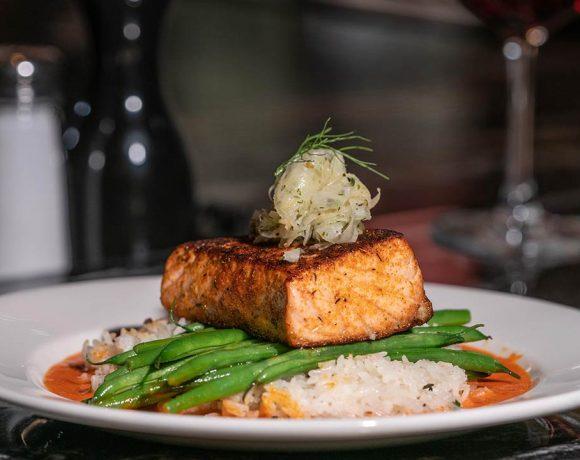 Burtons Grill's Salmon Romesco