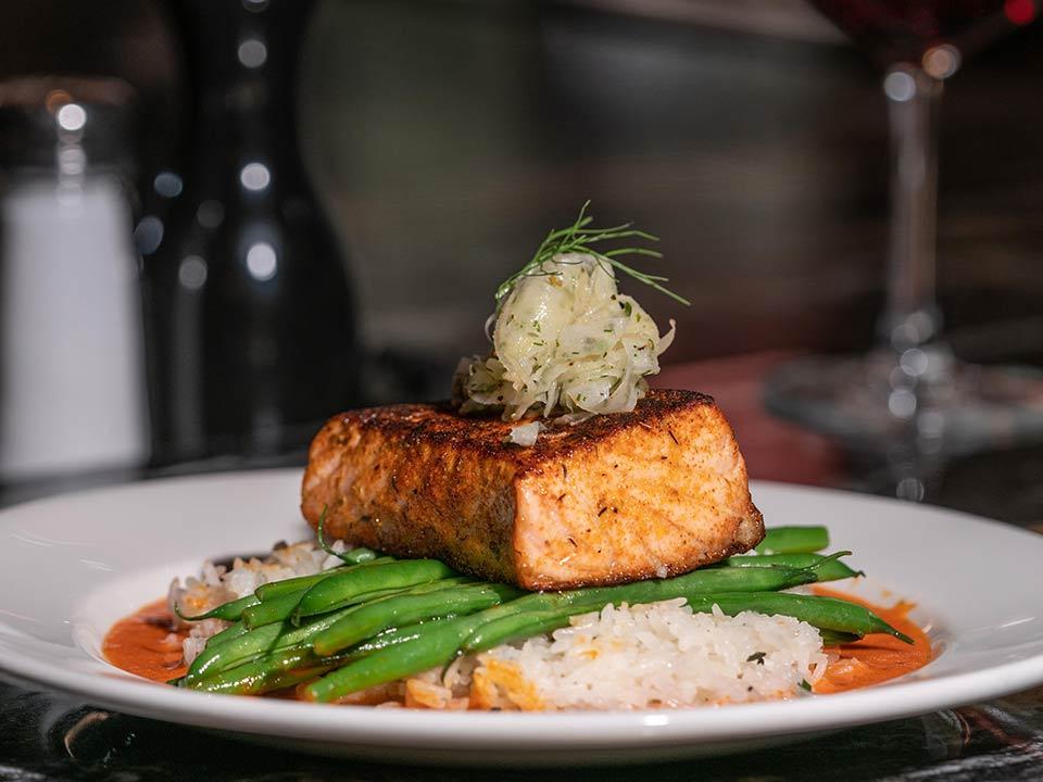 Burton's Grill's Salmon Romesco