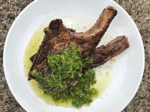 Double-cut Pork Chops with Charred Salsa Verde from Home Team BBQ's Chef Jason Rheinwald