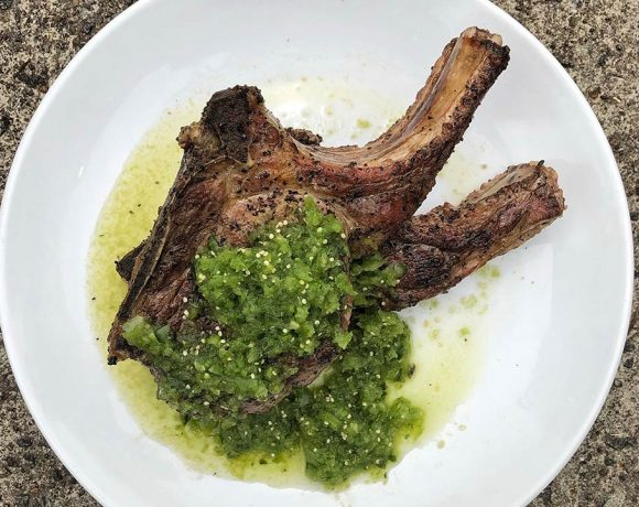 Double-cut Pork Chops with Charred Salsa Verde from Home Team BBQ's Chef Jason Rheinwald