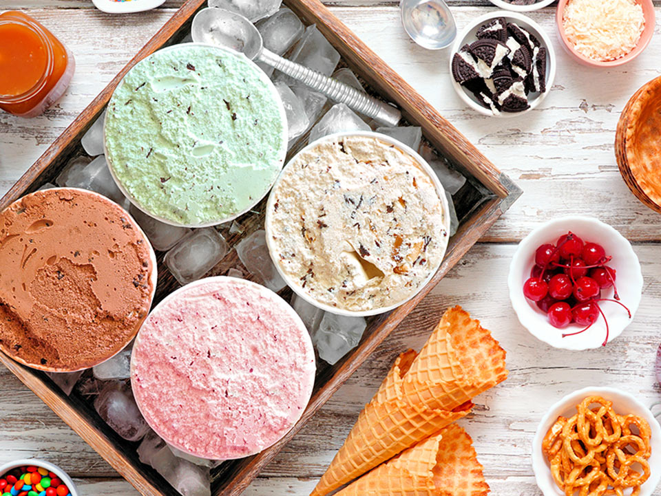 A selection of yummy ice creams and toppings